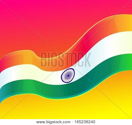 Republic Day in India, 26 January. design element, background with Indian national flag