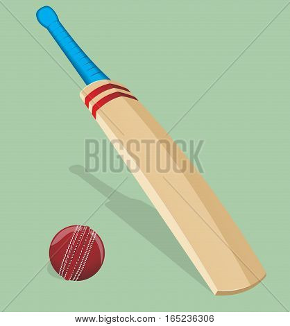 Vector illustration. Bat and ball for cricket. Sport equipment.