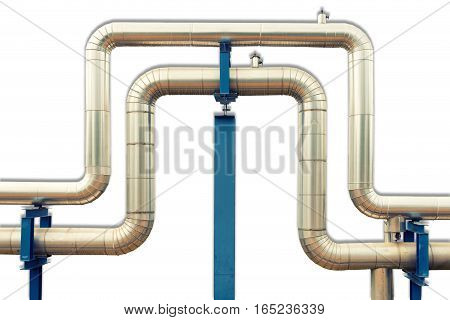 Loop steam pipeline on white isolate background.