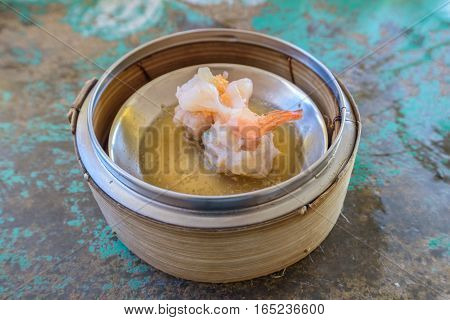 Chinese Dim Sum In Bamboo Basket