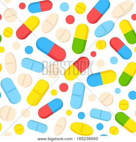 Vector seamless pattern with colorful pills and tablets. Scattered bright drug capsules. Medical background illustration.