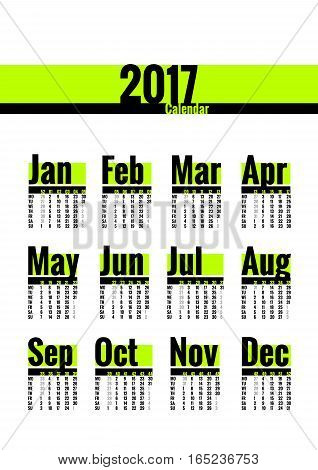 Calendar template for 2017 year. Week starts on Monday. Calender with week numbers. Year on one page, suitable for poster or pocket calendar