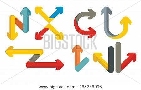 Color arrows set abstract illustration for web graphics