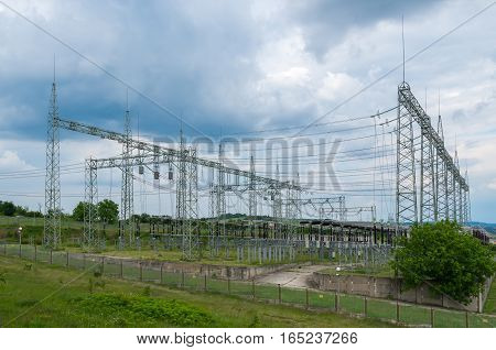 Electricity distribution. High-voltage substation with switches and disconnectors.