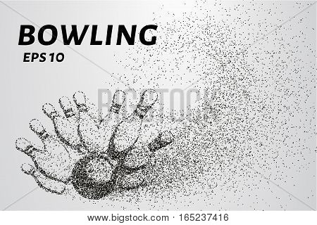 Bowling from the particles. Skittles and ball are composed of circles and dots. Vector illustration.