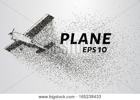 The plane of the particles. Passenger plane consists of small circles