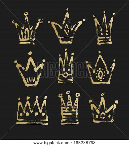 set of 9 black and gold sketch drawing princess and the king crown with paint grungy texture, vector illustration icons collection