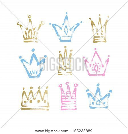 set of 9 blue, pink and gold sketch drawing princess and the king crown with paint grungy texture, vector illustration icons collection