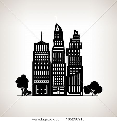 Silhouette Modern Big City with Buildings and Skyscraper, Architecture Megapolis, City Financial Center on a Light Background, Black and White Illustration