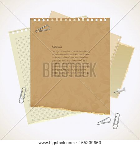 Blank worksheet exercise book. Old heavy paper with ragged edge. Vector illustration. Isolated on white background. Set