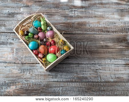 Easter eggs lying in a basket.Easter Egg.Easter ideas.Happy easter