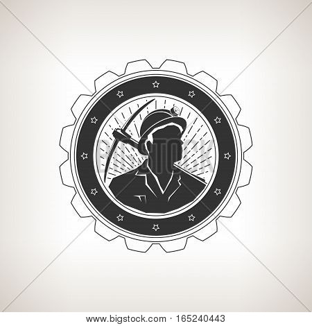 Miner in the Helmet with a Flashlight is Holding Pickaxe on the Background Sunburst, Vintage Emblem of the Mining Industry on a Light Background, Label or Badge Mine Shaft, Mining