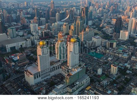 Top view Bangkok city central business downtown cityscape background