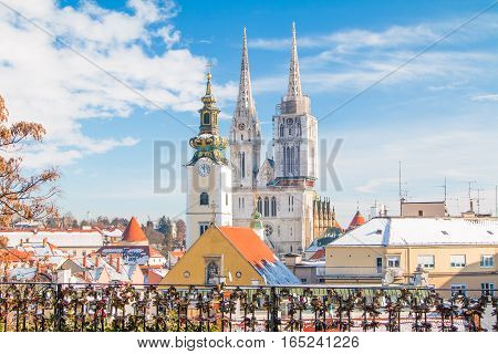 Panoramic view of cathedral in Zagreb, Croatia, from Upper town, winter, snow on roofs