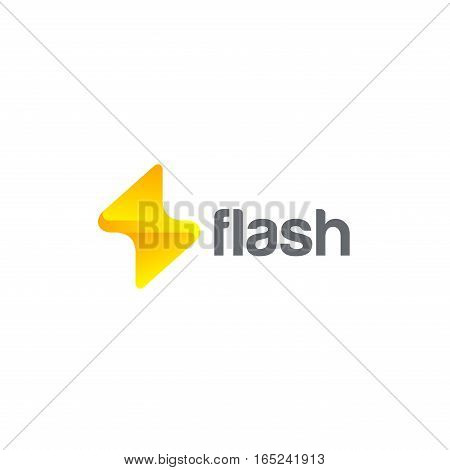 Flash Logo design vector template. Thunderbolt symbol. Energy Power electric speed creative Logotype concept.