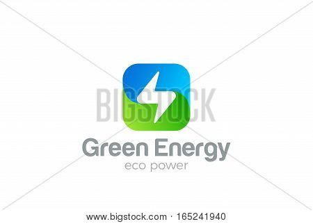 Flash Logo square design vector template. Thunderbolt symbol. Green Energy Eco Power electric Logotype concept.