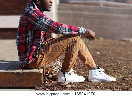Lifestyle Fashion Photo Stylish African Man Listens Music Enjoys Sunset, Wearing Hipster Plaid Red S