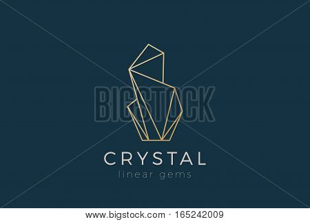Crystal Gems Logo design vector template Linear style. Jewelry Fashion Luxury Logotype concept outline icon.