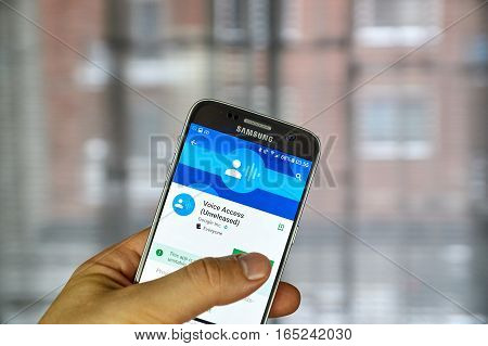 MONTREAL CANADA - DECEMBER 23 2016 : Google Voice Access on Samsung S7 screen. Google's Voice Access is an experimental app that allows Android users to control their device by voice
