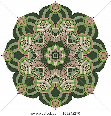 Oriental Pattern. Traditional Round Coloring Ornament. Mandala. Adult Coloring. Round Ornament Patte