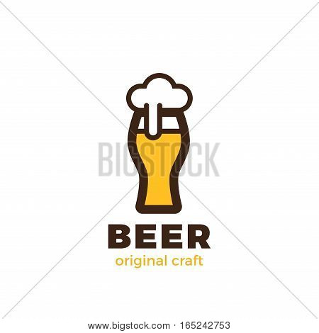 Beer Glass Logo design vector template Linear style. Pub Bar Brewery Craft Logotype concept
