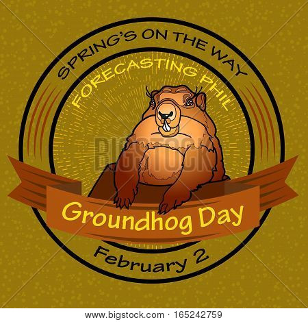 Groundhog Day. Vector illustration. Round label on a green background.