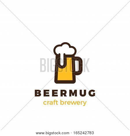 Beer Mug Logo design vector template Linear style. Pub Bar Brewery Craft Logotype concept.