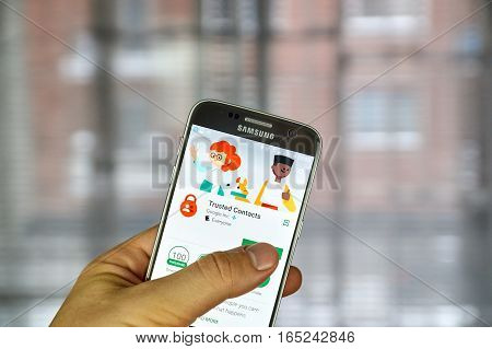 MONTREAL CANADA - DECEMBER 23 2016 : Google Trusted Contacts on Samsung S7 screen. Trusted Contacts is a personal safety app that opens a direct line of sharing between you and your loved ones.
