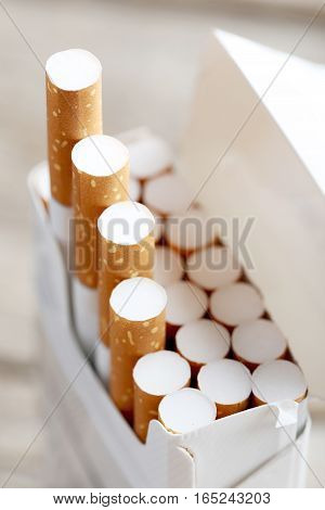 Open pack of the cigarettes, close up