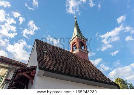 Roof church in Appenzel city in switzerland