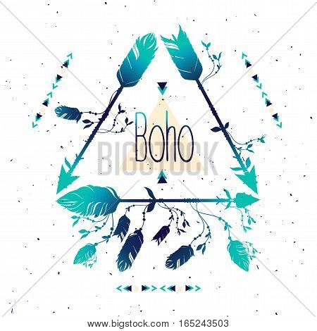 Tribal frame with arrows and feathers. Ethnic Feathers. Boho Style. Vector Illustration