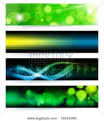 Vector set of abstract banners. Green Design. EPS10 Vector Background.