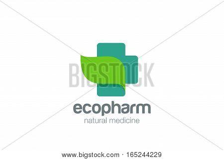Pharmacy Logo eco green cross design vector template. Natural Organic medicine Logotype concept icon.