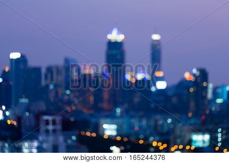 Abstract blurred light office building night view