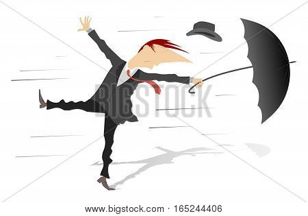 Windy weather. Man, his hat and umbrella are gone by the wind