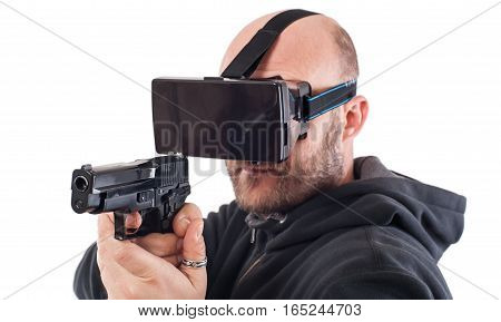 Man Play Vr Shooter Game With Virtual Reality Gun And Vr Glasses