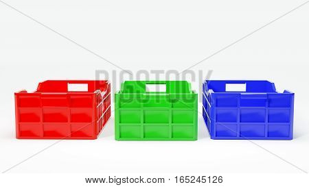 red green and blue boxes used in transportation 3d illustration