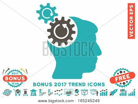 Grey And Cyan Head Cogs Rotation pictogram with bonus 2017 trend pictograph collection. Vector illustration style is flat iconic bicolor symbols white background.