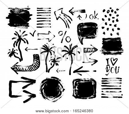 set of black ink hand drawing brushes collection isolated on white background for your design, brush strokes element vector illustration