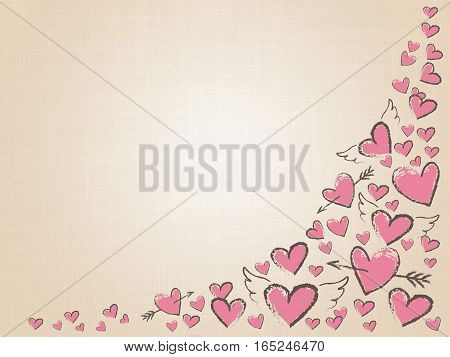Raster illustration. Beautiful love hearts on vintage background. Valentine Day background with pink hand drawn hearts. Happy Valentine day, wedding elements. Doodle hearts, angel wings and arrows.