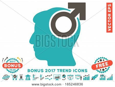 Grey And Cyan Intellect Potency pictograph with bonus 2017 trend images. Vector illustration style is flat iconic bicolor symbols white background.