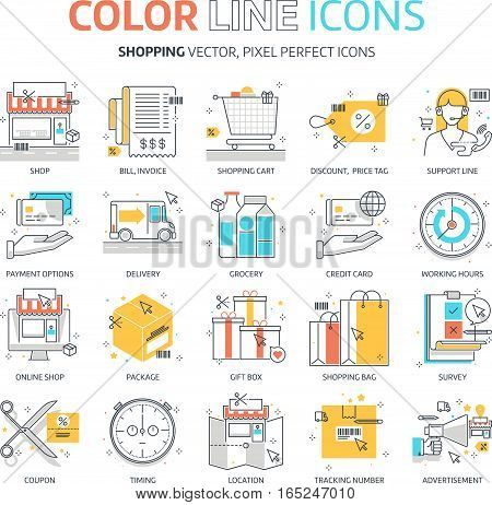 Color Line, Shopping Illustrations, Icons