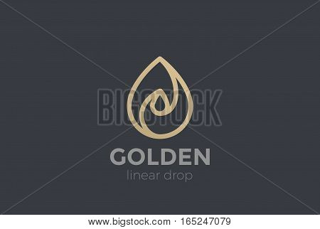 Water drop Logo design 3D vector template Linear style. Waterdrop icon. Infinite Aqua droplet Logotype idea.