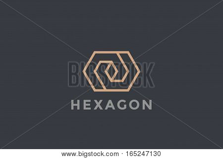 Corporate Business geometric impossible abstract Logo design vector template Linear style. Hexagon looped infinity shape Logotype concept icon.