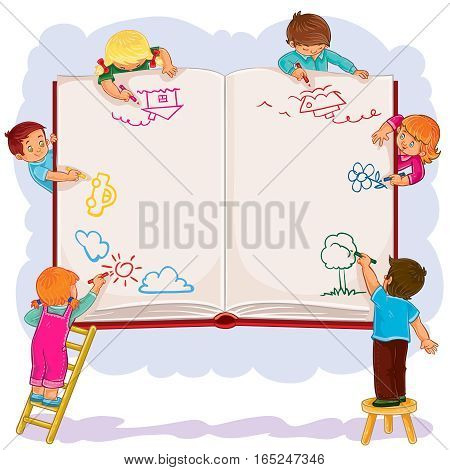 Vector illustration of happy children draw on a large sheet of book, side view