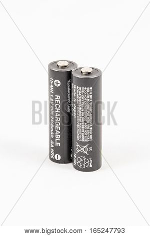 Two Unbranded Black Aa Rechargeable Batteries