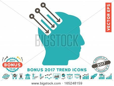 Grey And Cyan Neuro Interface pictograph with bonus 2017 trend elements. Vector illustration style is flat iconic bicolor symbols white background.