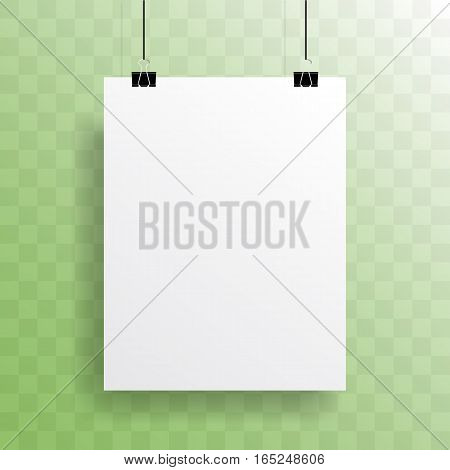 Vector blank sheet poster mockup with realistic shadow on transparent background.