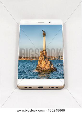 Modern Smartphone Displaying Picture Of Sevastopol, Crimea
