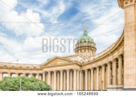 Defocused Background Of Kazan Cathedral In St. Petersburg, Russia
